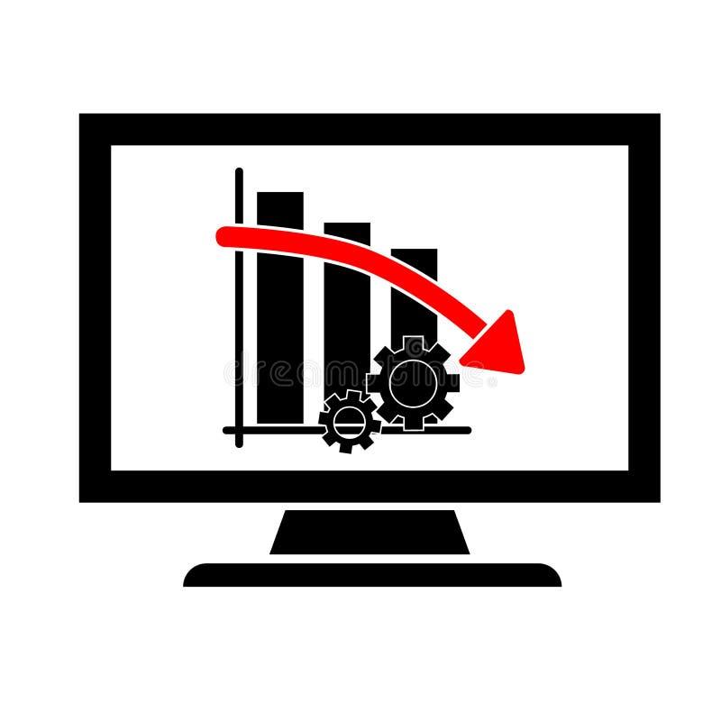 Ilustração simples do ícone, monitoração do progresso do negócio da produtividade, caindo para baixo ilustração stock