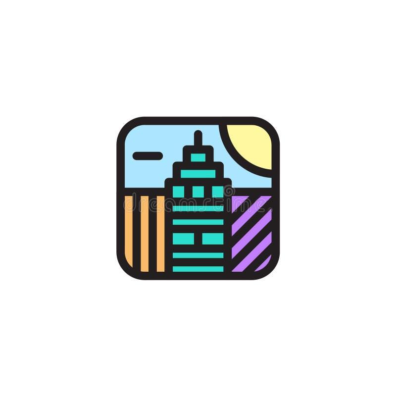 Ilustração simples do logotipo dos ícones do app da skyline da cidade ilustração do vetor