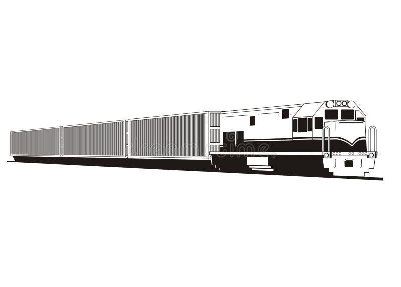 Ilustração simples do trem do recipiente ilustração do vetor