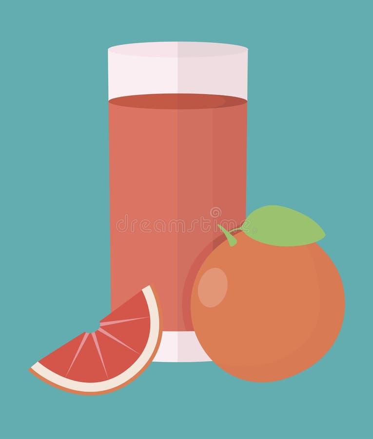 Ilustração simples do vetor com capacidade para mudar Cocktail com laranja ilustração do vetor