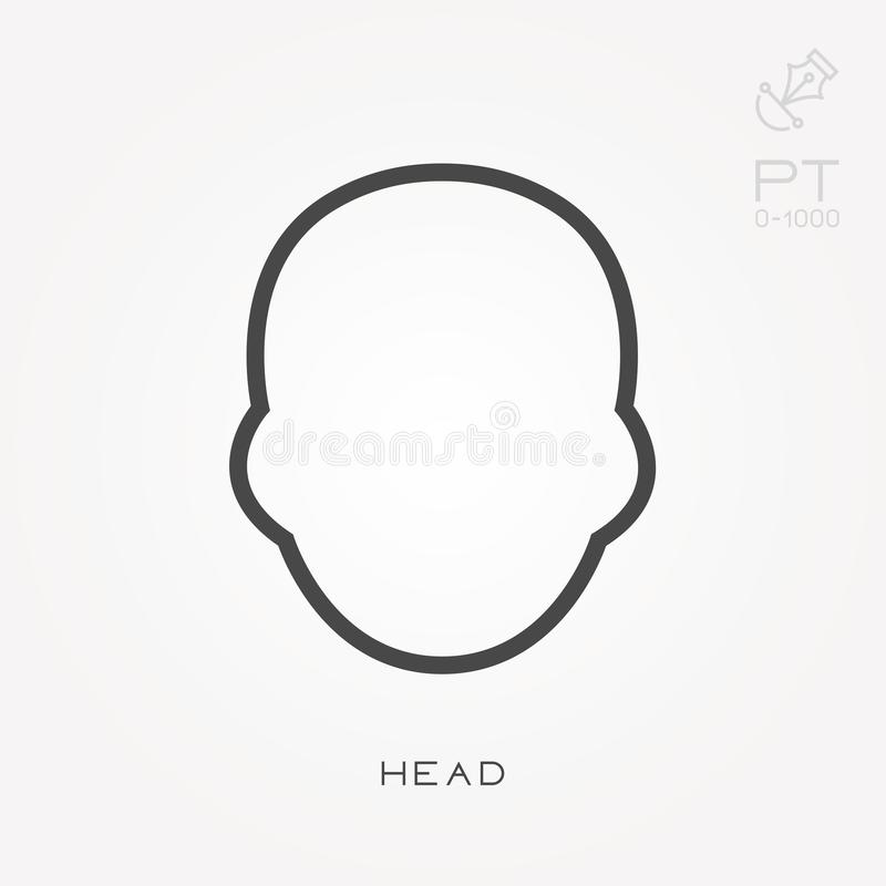 Ilustração simples do vetor com capacidade para mudar Linha cabeça do ícone ilustração royalty free