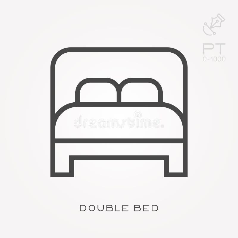 Ilustração simples do vetor com capacidade para mudar Linha cama de casal do ícone ilustração do vetor