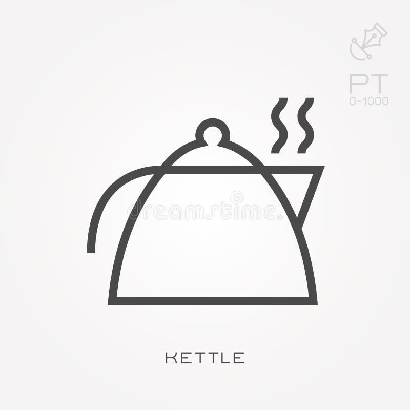 Ilustração simples do vetor com capacidade para mudar Linha chaleira do ícone ilustração do vetor