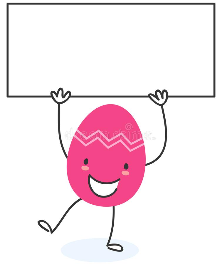 Ilustração simples do vetor de um personagem de banda desenhada liso colorido do ovo da páscoa do projeto que sustenta o quadro d ilustração stock