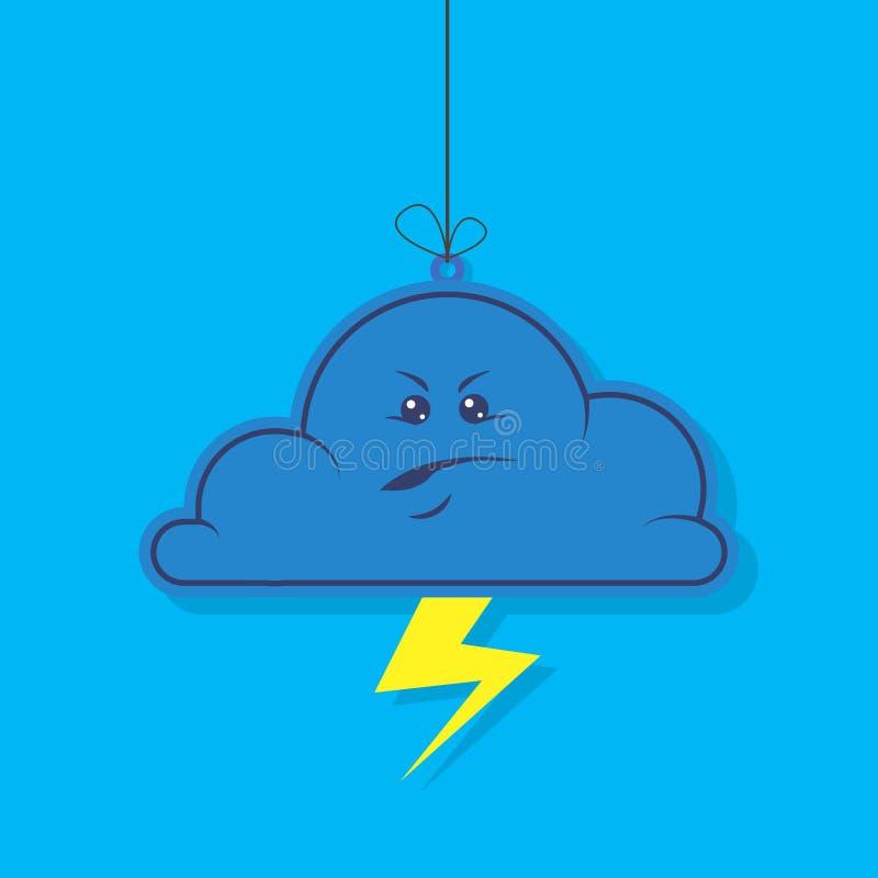 Ilustração simples dos desenhos animados do vetor da nuvem irritada escura lisa com relâmpago em um fundo azul ilustração royalty free