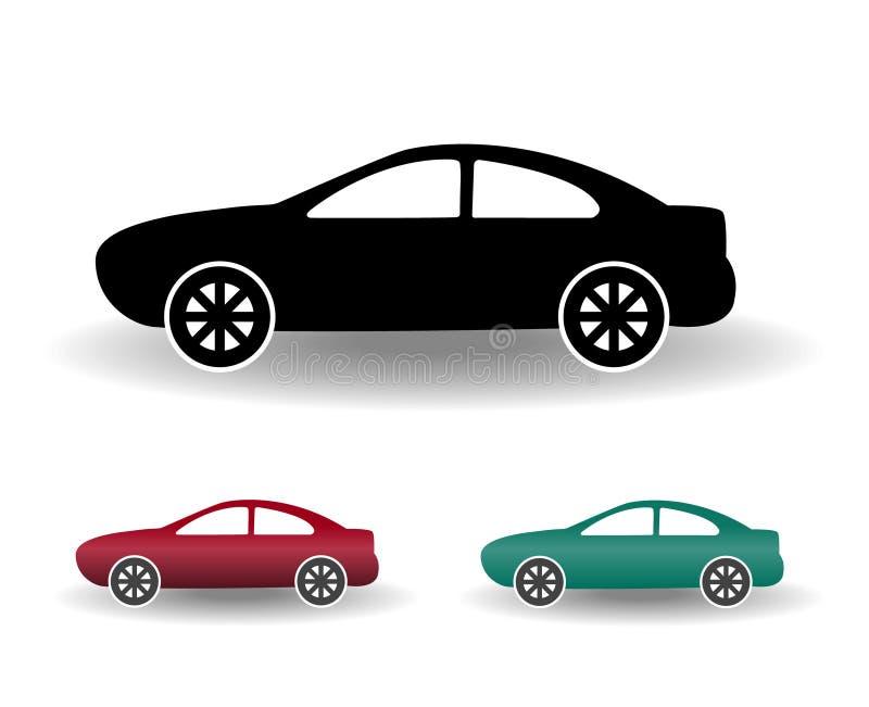 Ilustração simples lisa preto e branco do vetor do ícone moderno do carro ilustração do vetor