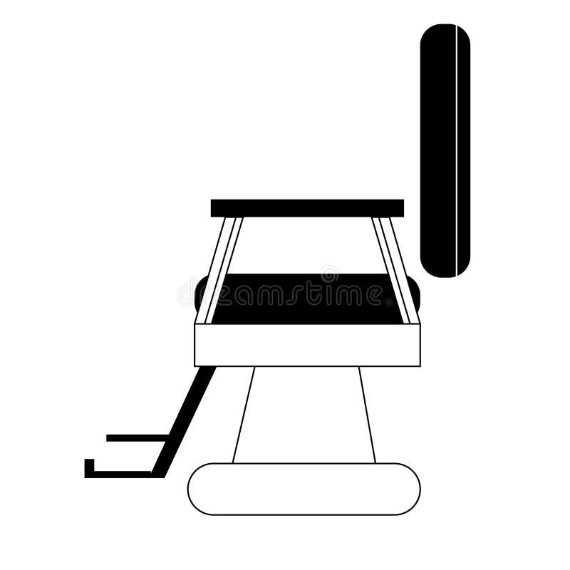 Ilustração simples preto e branco da cadeira do barbeiro ilustração do vetor
