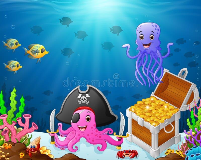 Ilustração sob do mar ilustração royalty free