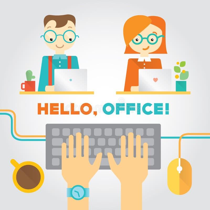 Ilustração sobre o escritório ou vida coworking com trabalhadores, mãos de datilografia e material ilustração stock