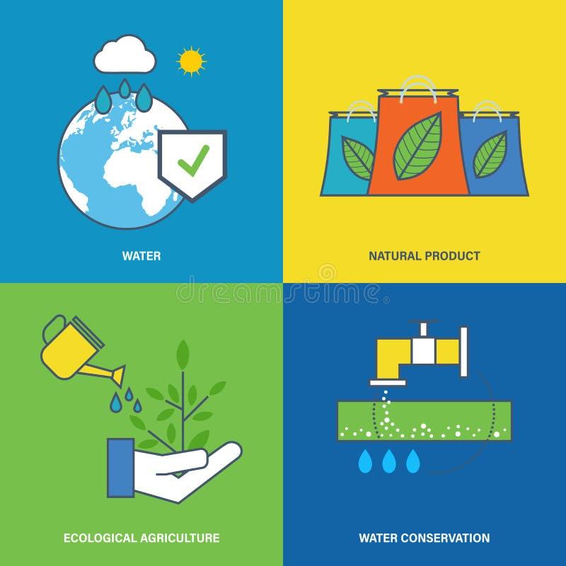 Ilustração sobre a proteção ambiental, preservação de recursos naturais da água ilustração stock