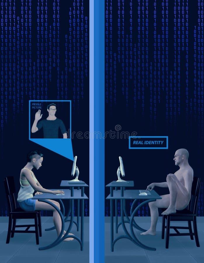 Ilustração social da foto da identidade do perfil da falsificação dos meios ilustração royalty free