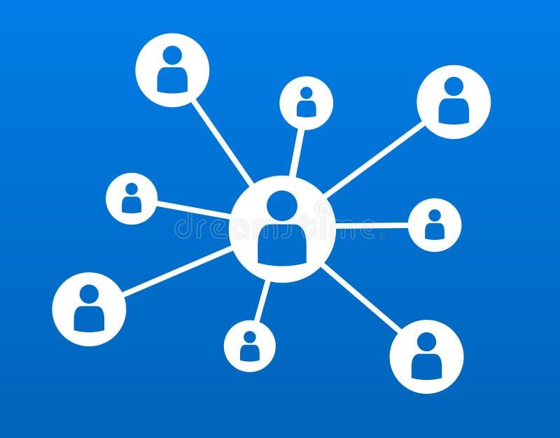 Ilustração social do vetor do conceito de uma comunicação do negócio dos trabalhos em rede ilustração royalty free
