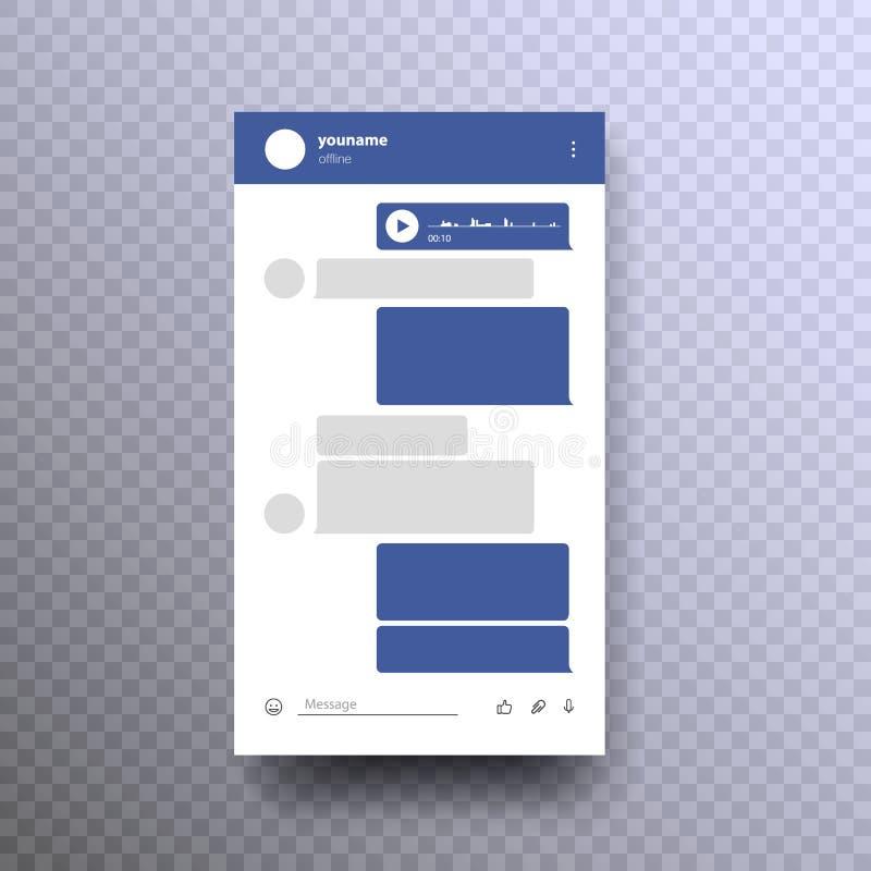 Ilustração social do vetor do quadro do conceito do mensageiro da rede ilustração do vetor