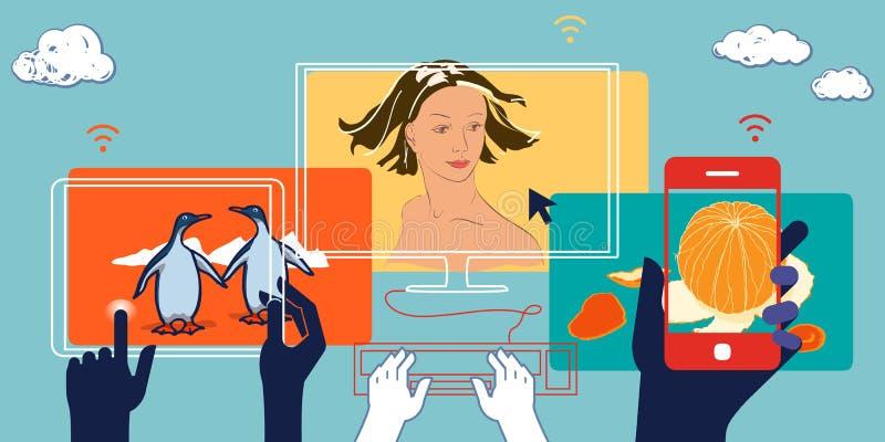 Ilustração social dos meios dos dispositivos móveis Conceito do negócio ilustração do vetor