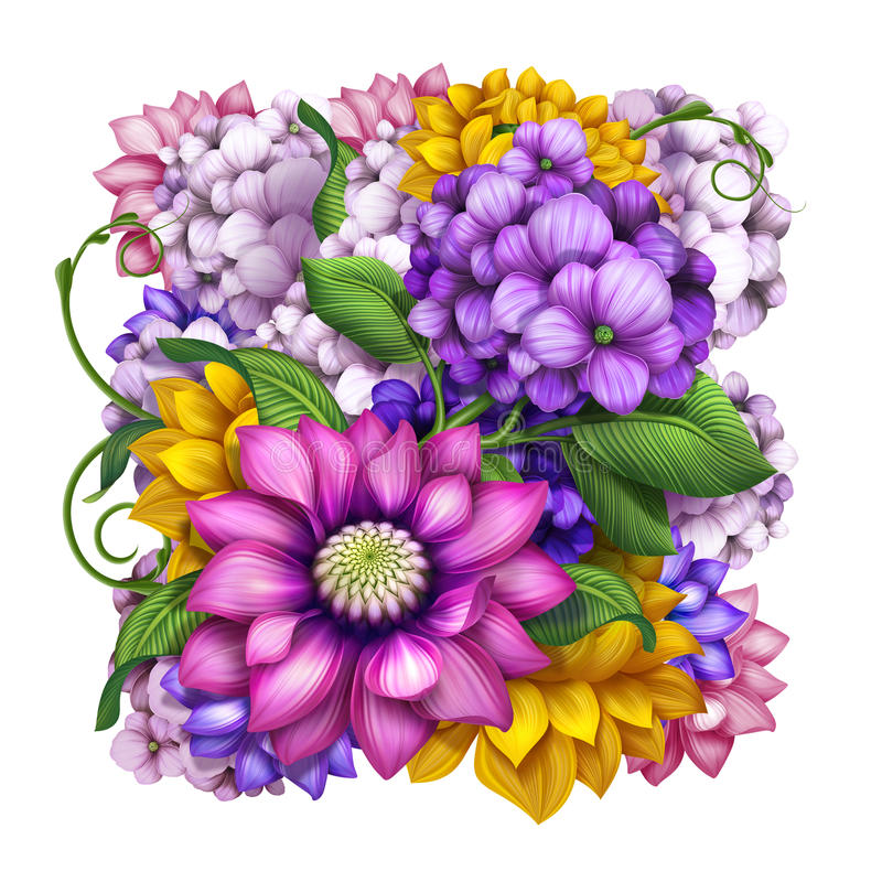 Ilustração sortido das flores da mola e do verão ilustração royalty free