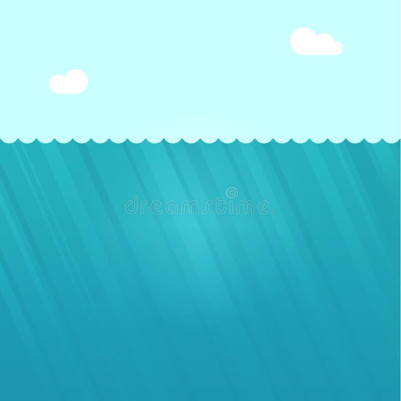 Ilustração subaquática do vetor da cena, fundo inferior profundo do oceano da água ilustração royalty free