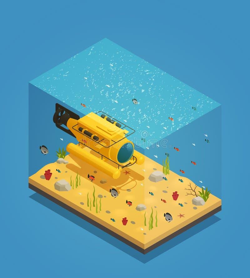 Ilustração subaquática do vetor do equipamento do Bathyscaphe ilustração royalty free