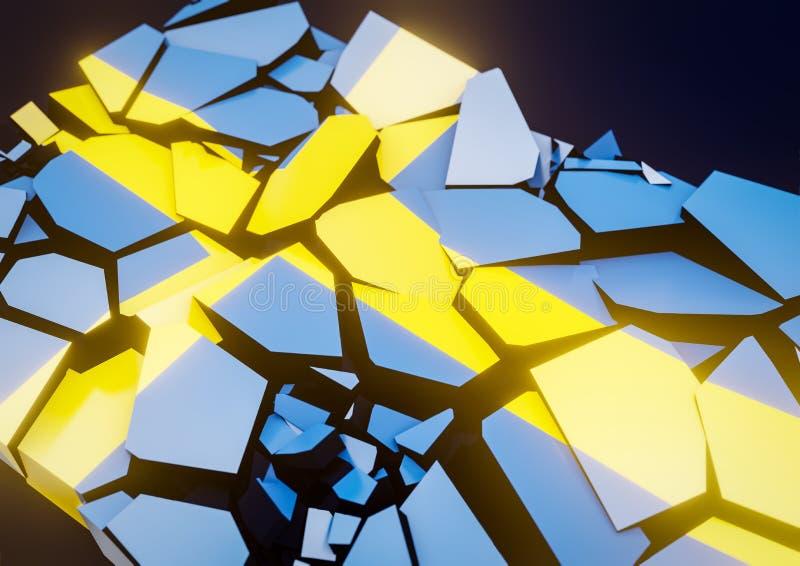 Ilustração sueco da bandeira 3d do colapso do estado rendida ilustração do vetor