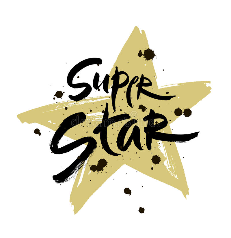Ilustração super da rotulação do vetor da estrela Frase tirada mão Escova moderna escrita à mão ilustração stock