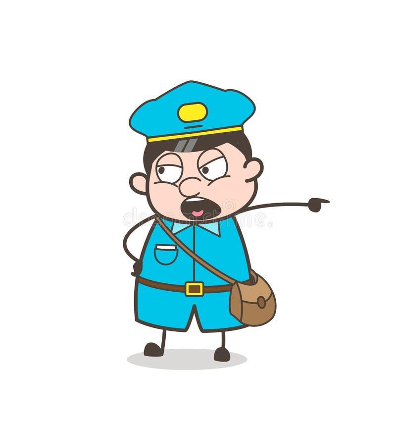 Ilustração superior irritada do vetor da gritaria do trabalhador do carteiro ilustração royalty free