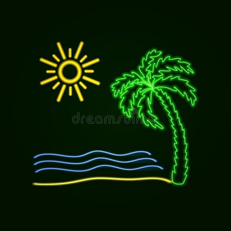 Ilustração surfando de néon do vetor: Palma, ondas de oceano, praia da areia, placa de Sufr ilustração do vetor