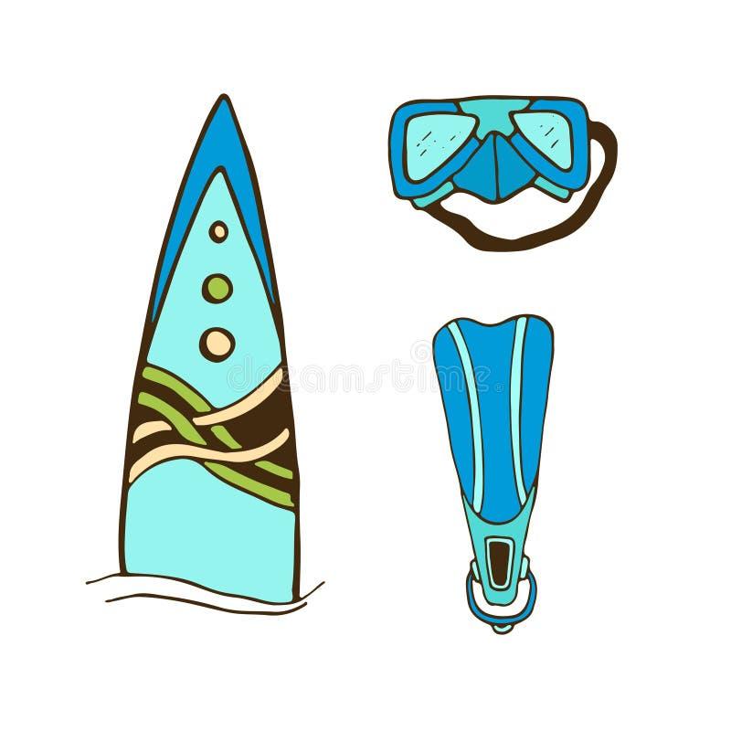 Ilustração surfando e de mergulho Projeto da cópia da etiqueta Prancha e aletas ilustração do vetor
