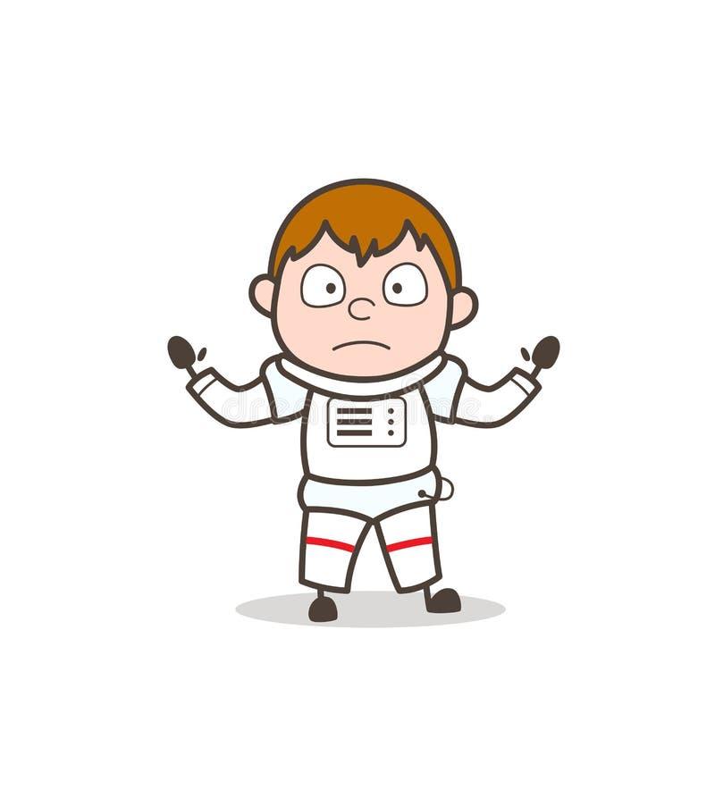 Ilustração surpreendida desenhos animados de Hand Gesture Vetora do cosmonauta ilustração royalty free
