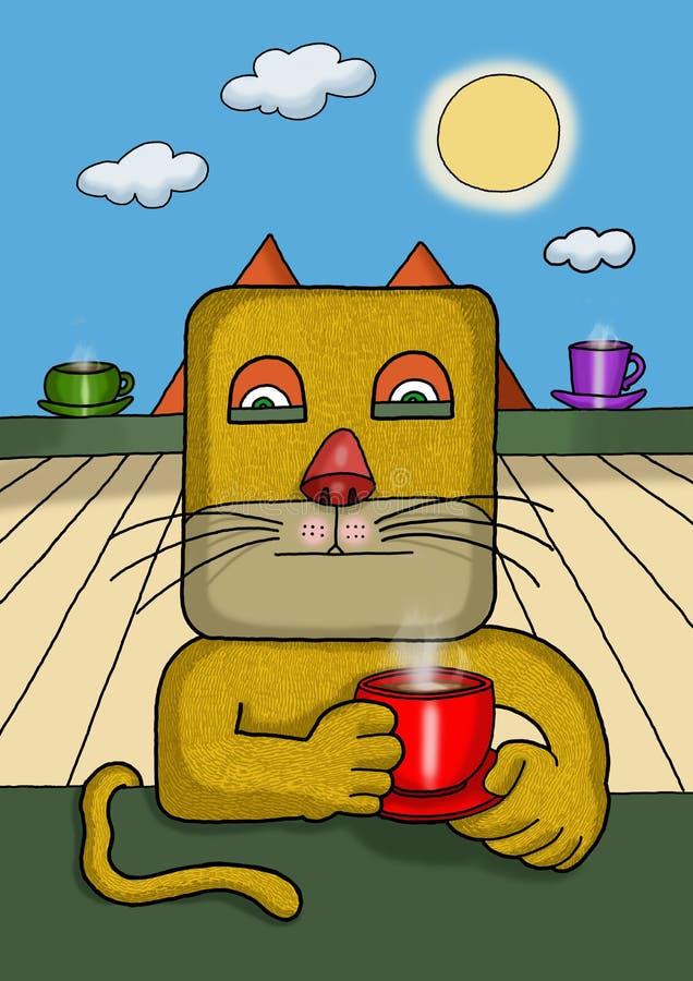 Ilustração surreal de um gato quadrado da cara imagem de stock