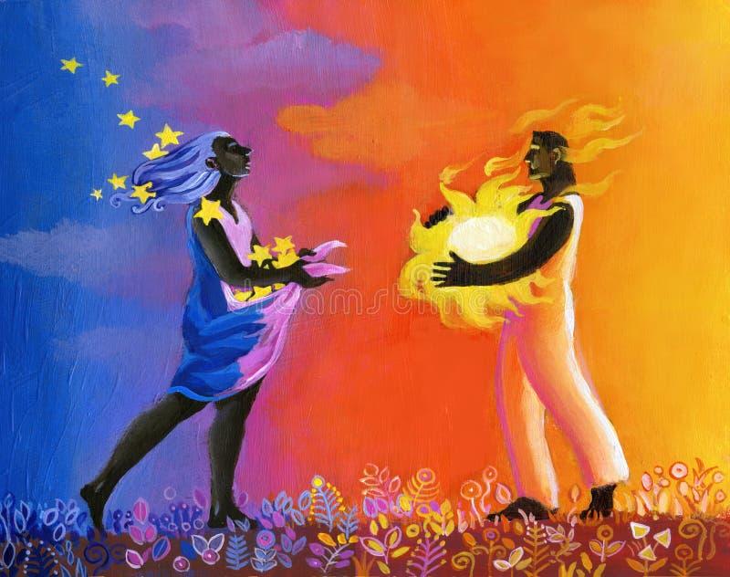 Ilustração surreal do dreamin do amor ancestral ilustração stock