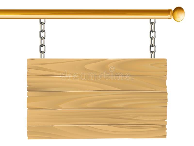 Ilustração suspendida madeira do sinal ilustração royalty free