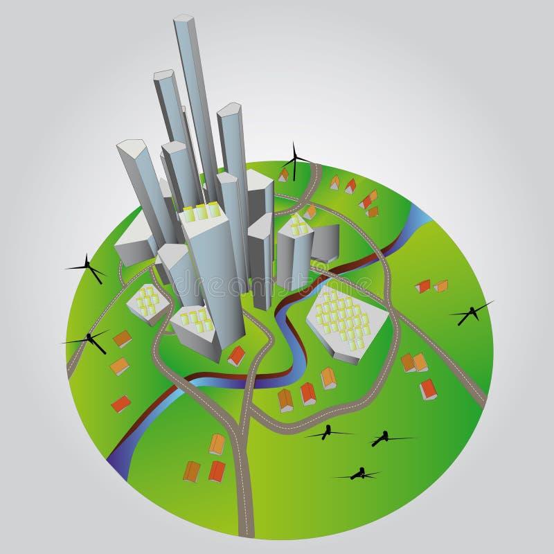 Ilustração sustentável do desenvolvimento da cidade ilustração do vetor