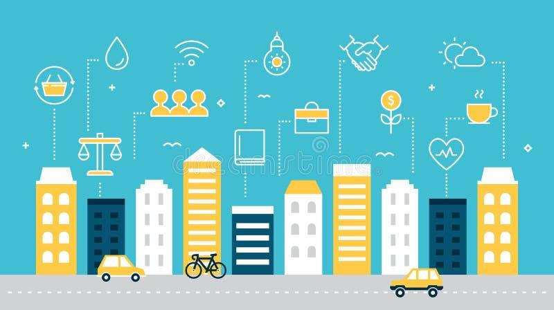 Ilustração sustentável esperta do vetor do desenvolvimento da cidade ilustração do vetor