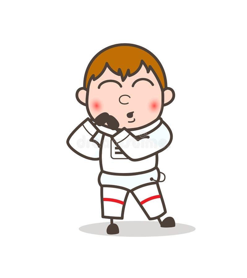 Ilustração tímida de Blushing Face Vetora do astronauta dos desenhos animados ilustração stock