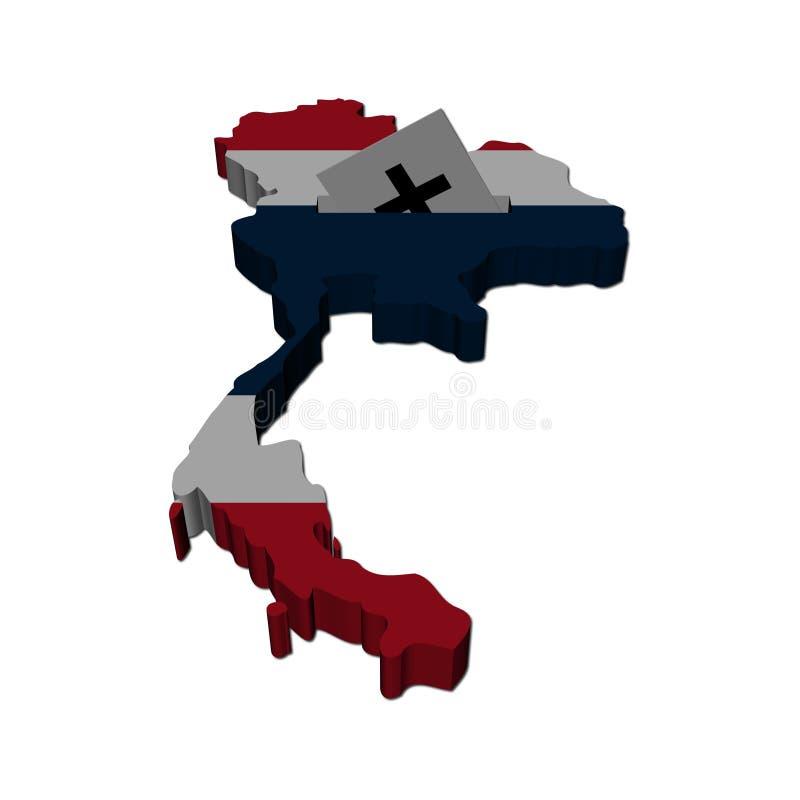 Ilustração tailandesa do mapa da eleição ilustração do vetor