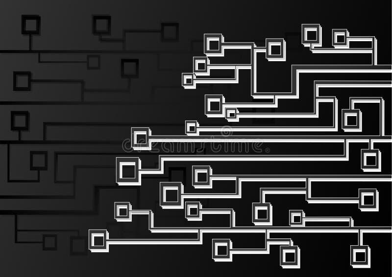 ilustração tecnologico abstrata do vetor, linhas preto e branco e camadas ilustração stock