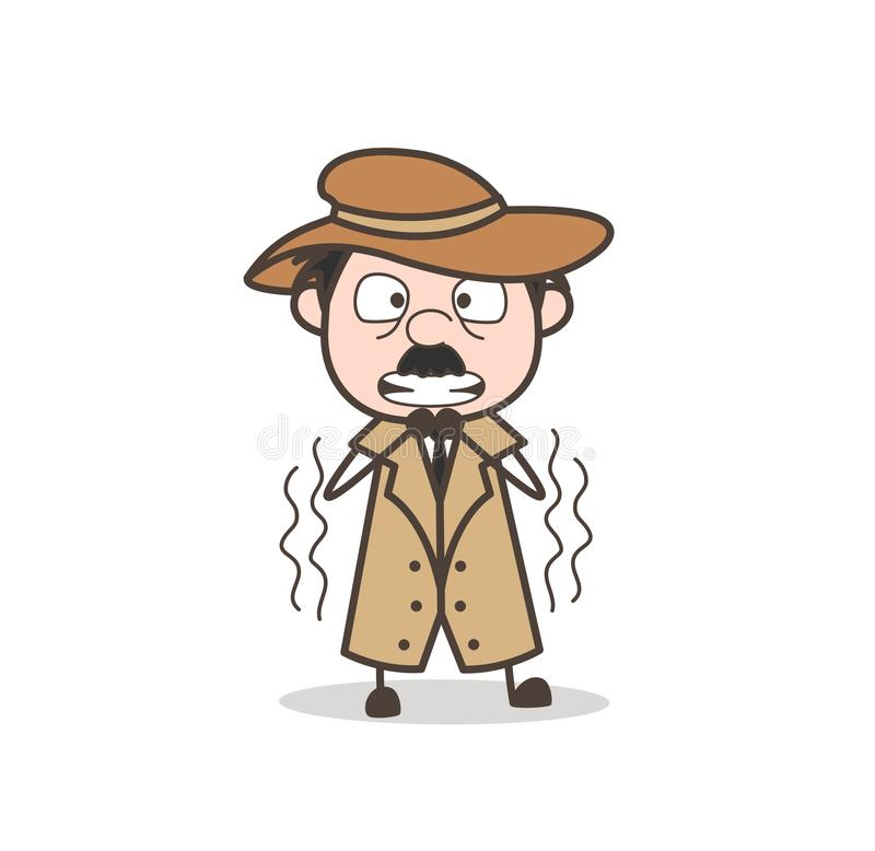 Ilustração temível de Face Expression Vetora do detetive dos desenhos animados ilustração do vetor