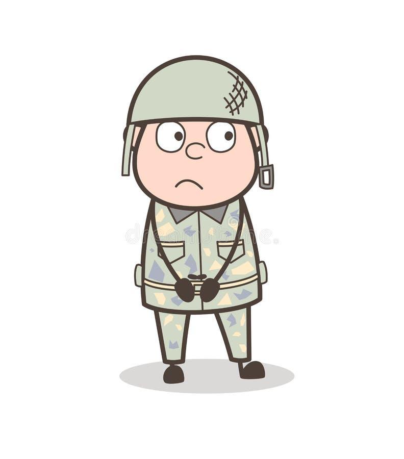 Ilustração temível de Face Expression Vetora do oficial de exército dos desenhos animados ilustração stock