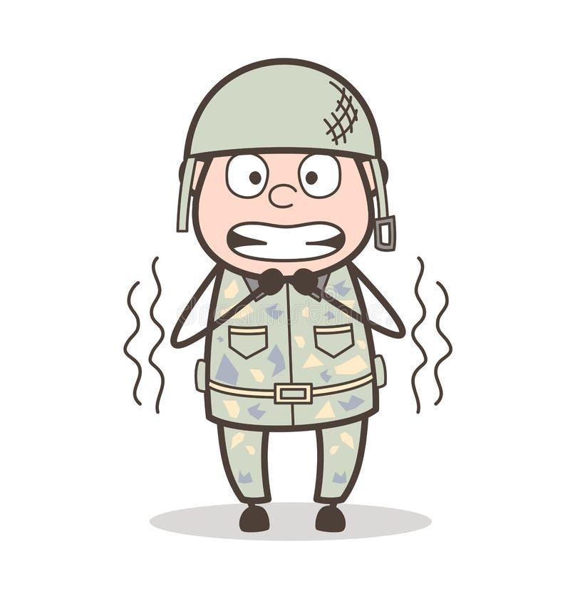 Ilustração temível de Face Expression Vetora do soldado dos desenhos animados ilustração stock