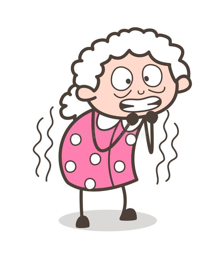 Ilustração temível do vetor da expressão da cara da mulher adulta dos desenhos animados ilustração royalty free