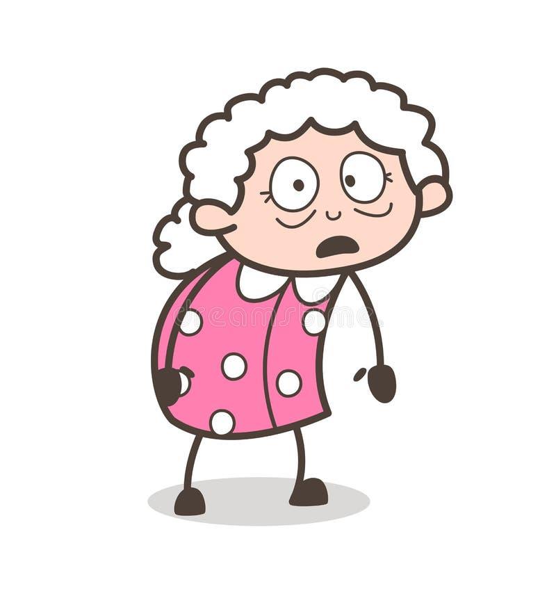 Ilustração temível do vetor da expressão da mulher adulta dos desenhos animados ilustração stock