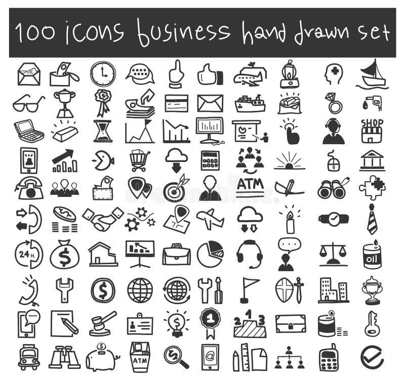 Ilustração tirada da arte do vetor dos ícones do negócio mão ajustada ilustração royalty free