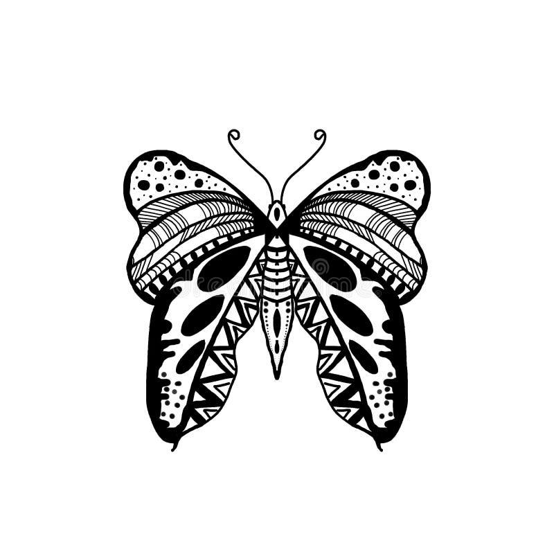 Ilustração tirada da borboleta do estilo de Zentangle da mão preta Asa da borboleta ilustração royalty free
