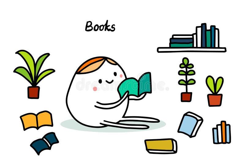 Ilustra??o tirada da m?o de livros no estilo dos desenhos animados Homens de leitura no assoalho ilustração do vetor
