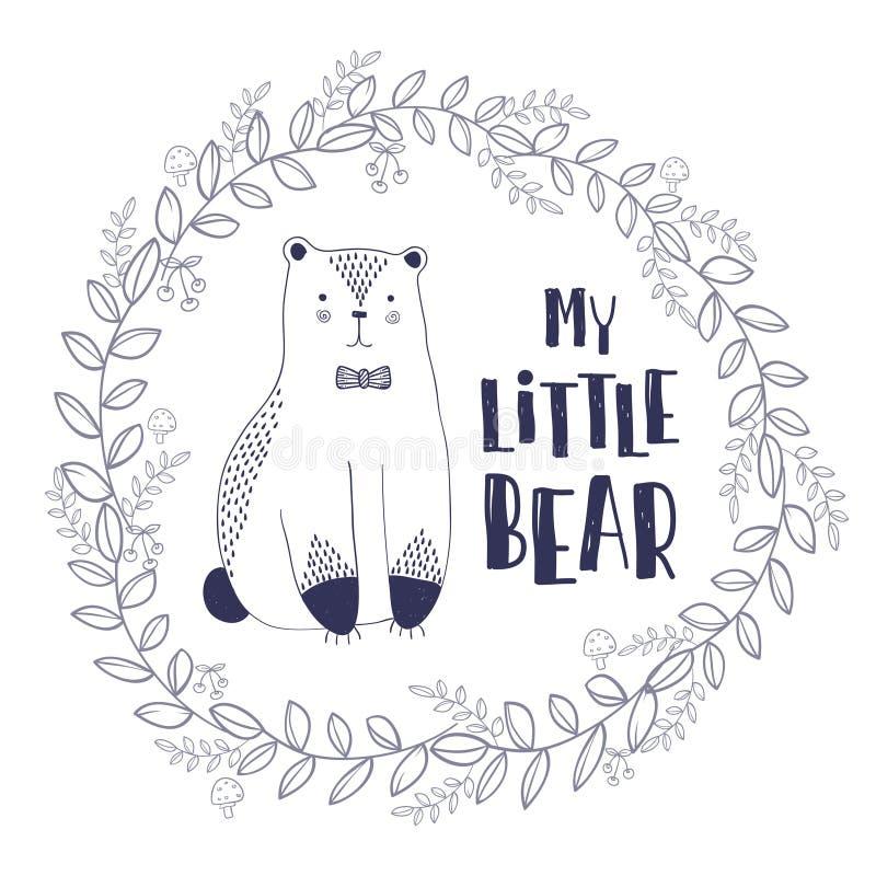 Ilustração tirada do esboço mão estilizado do urso bonito com minhas citações pequenas do urso na obscuridade - cores azuis Proje ilustração do vetor
