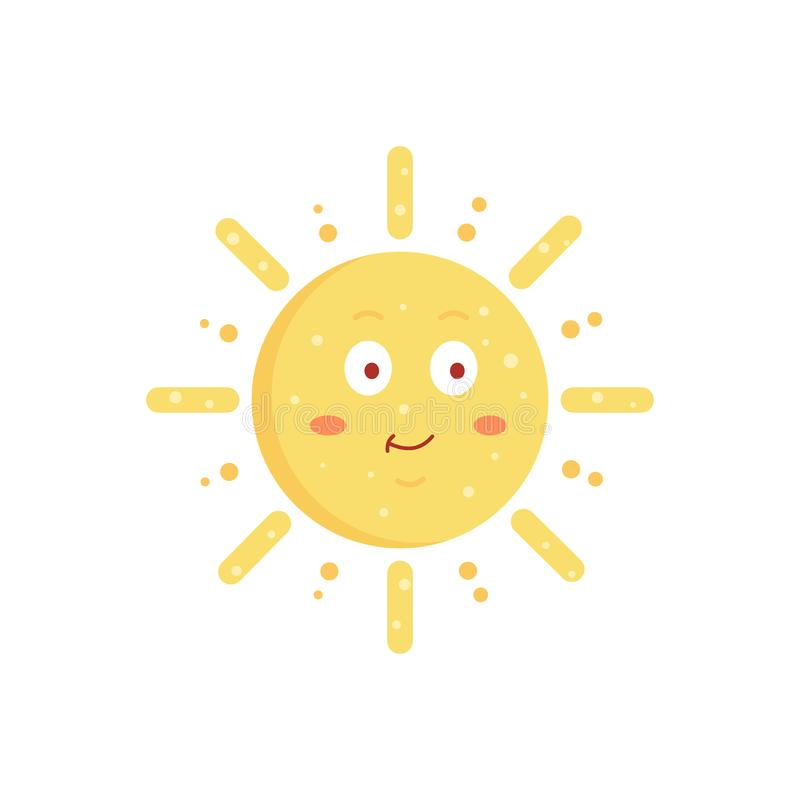 Ilustração tirada do sol do vetor mão engraçada Ícone bonito do emoticon do sol Emoji ensolarado da cara do verão ilustração royalty free