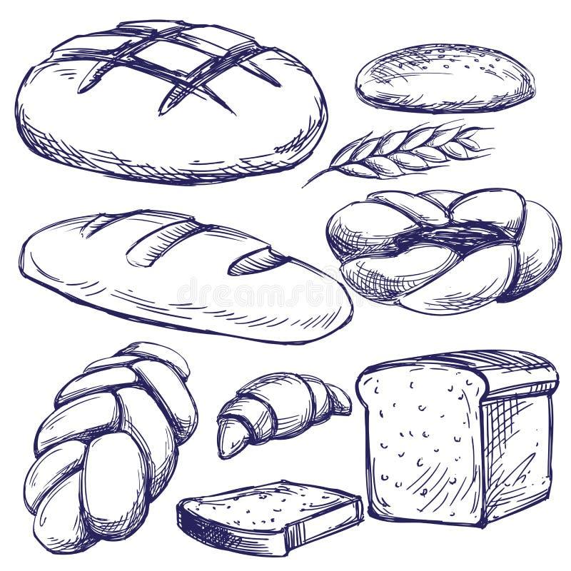 Ilustração tirada do vetor da padaria mão ajustada ilustração do vetor