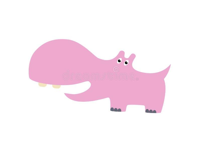 Ilustração tirada do vetor dos desenhos animados do hipopótamo mão bonito Pode ser usado para a cópia do t-shirt, projeto da form ilustração do vetor