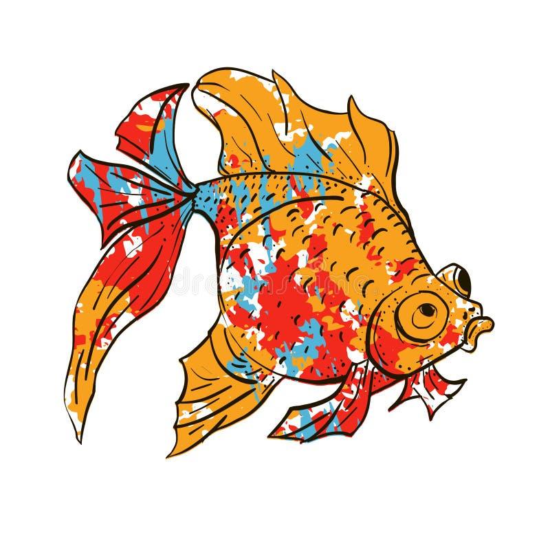 Ilustração tirada do vetor mão colorida bonito do peixe dourado sobre o fundo branco Nossos animais de estimação favoritos do aqu ilustração stock
