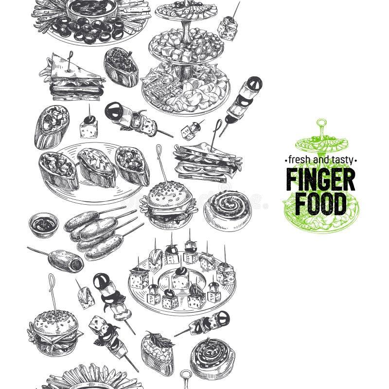 Ilustração tirada dos alimentos de dedo do vetor mão bonita ilustração do vetor