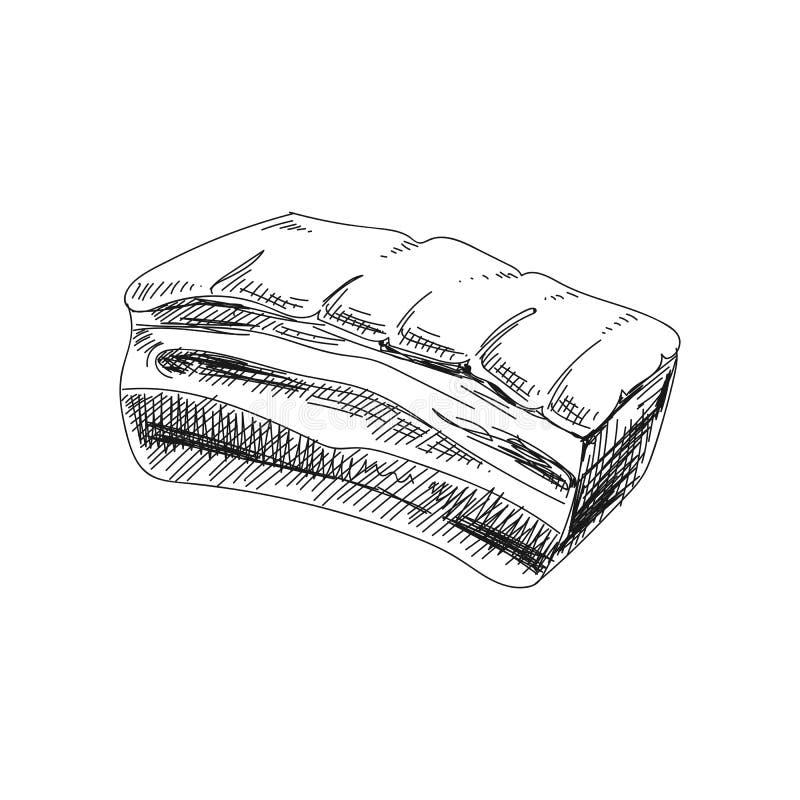 Ilustração tirada dos produtos de carne do vetor mão bonita ilustração royalty free